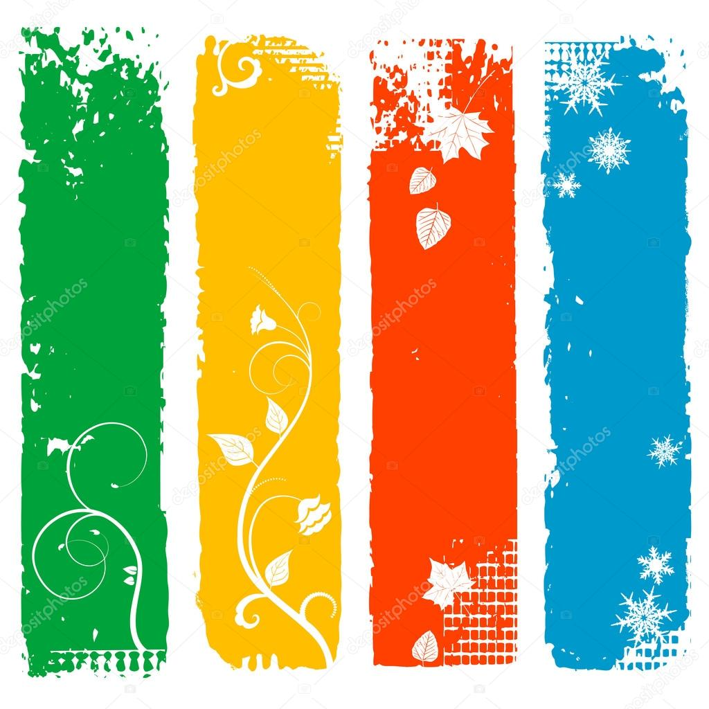 Set of four season vertical banners