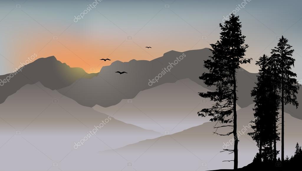 Lonely pine on the mountains background with flying birds