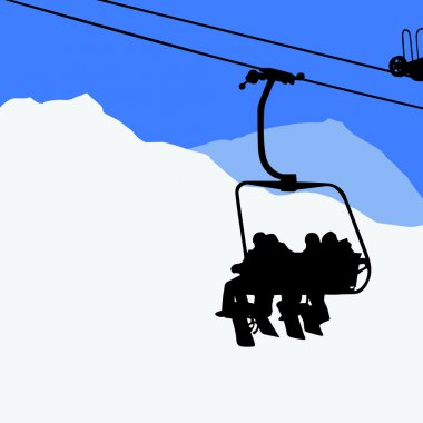 People on the ski lift - snowboarders, skiers