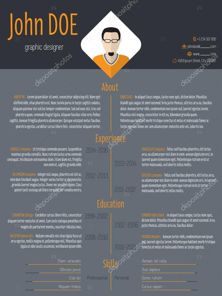 Cool Resume Cv Template With Dark Background  Stock Vector