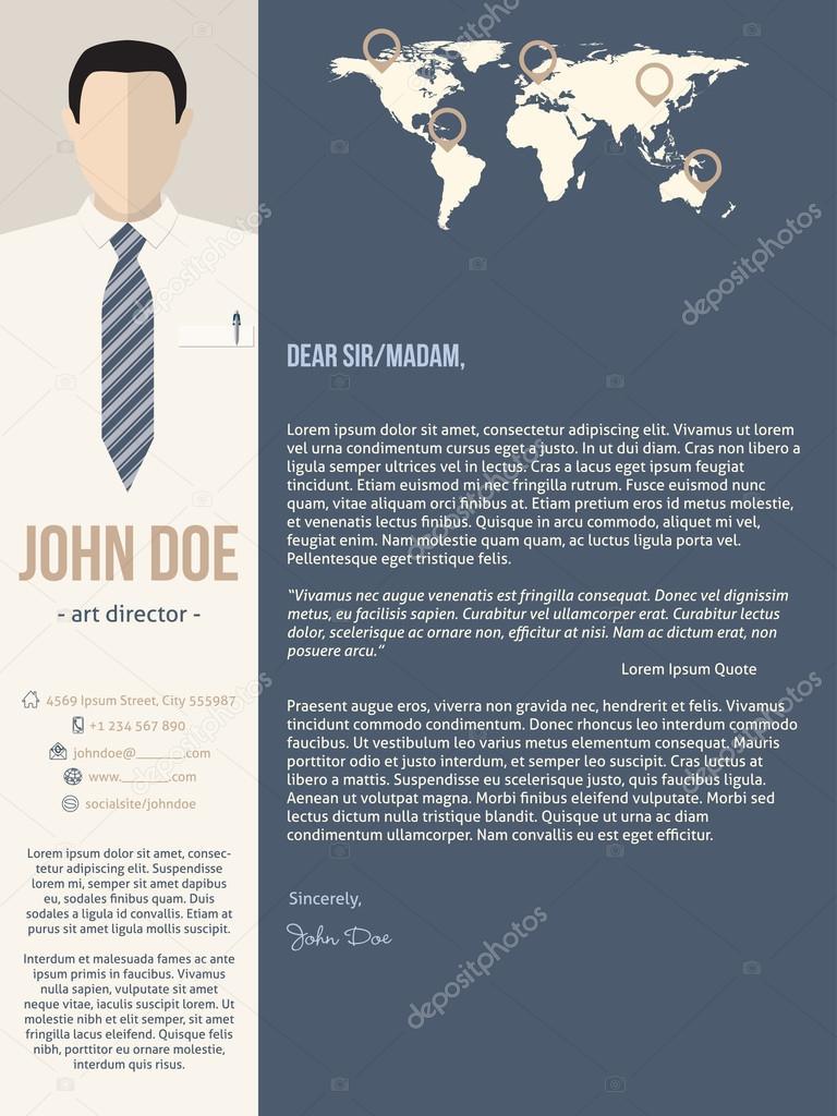Plantilla de carta de presentación moderna con hombre de negocios ...