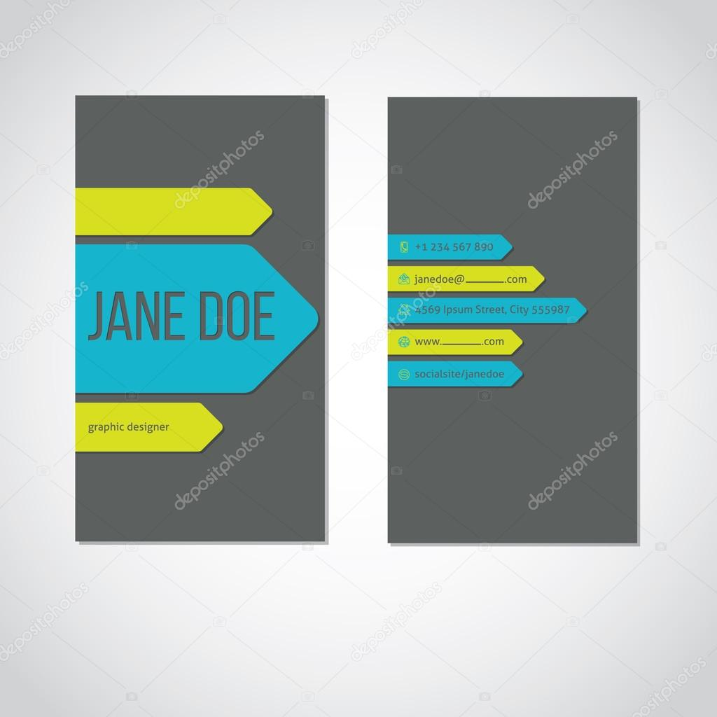 Cool portrait business card with color arrows — Stock Vector ...