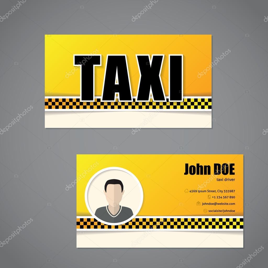 Taxi Visitenkarte Vorlage Mit Treiber Foto Stockvektor