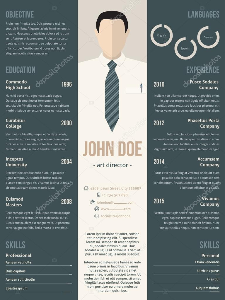Verbazingwekkend Modern resume cv template with business suit — Stock Vector JH-12