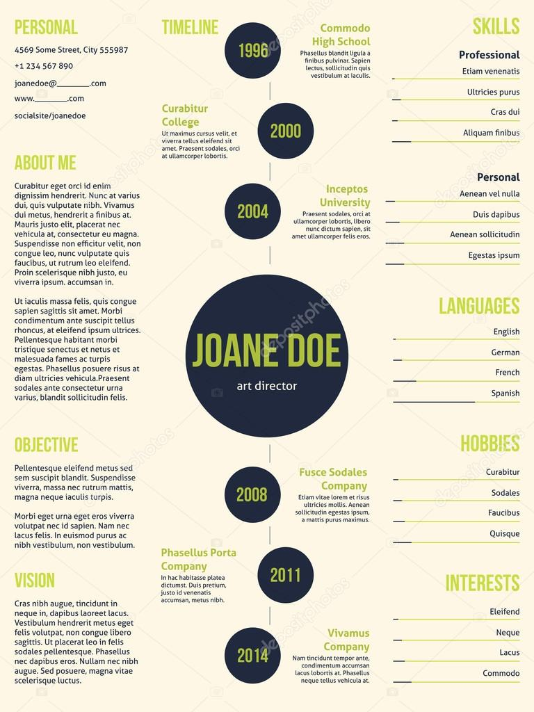 Plantilla de cv curriculum vitae simple con puntos — Vector de stock ...