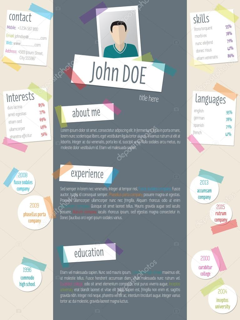 Modern resume cv template with tapes and post its stock vector modern resume cv template with tapes and post its stock vector 105253734 yelopaper Images