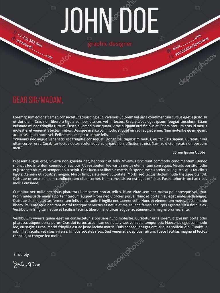 Carta moderna reanudar cv con onda rojo — Vector de stock © vipervxw ...
