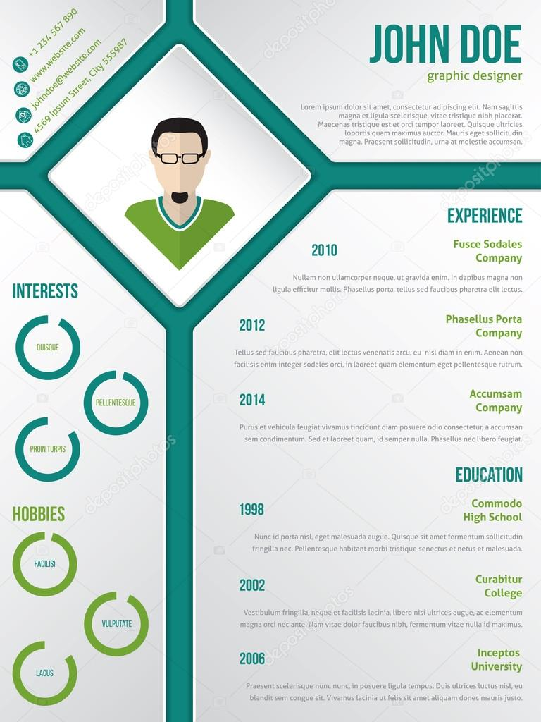 Modern Cv Resume Template With Photo In Rhomb  Stock Vector