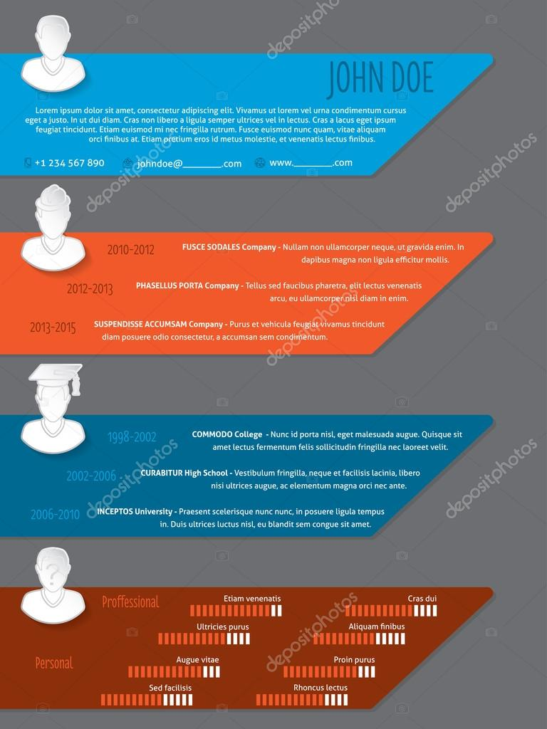 modern colorful resume cv template with white icons stock vector