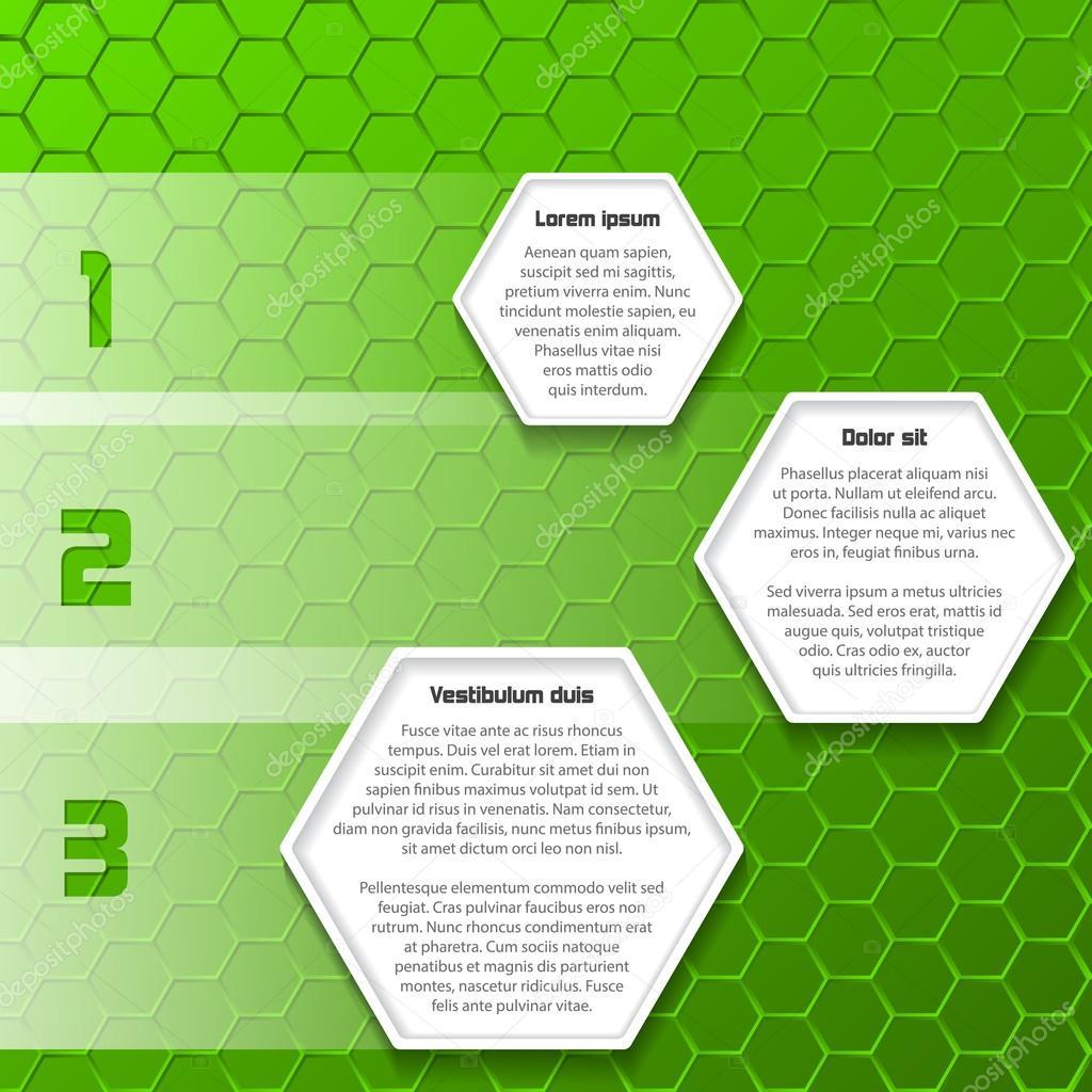 Diseño de infografía verde fresco con hexágonos — Vector de stock ...