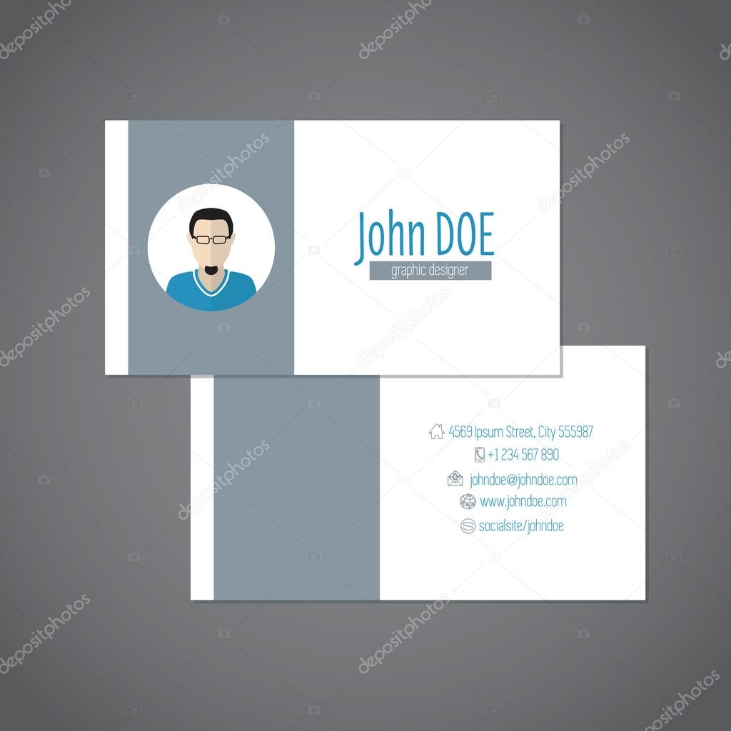 Simplistic business card with photo — Stock Vector © vipervxw #67022327