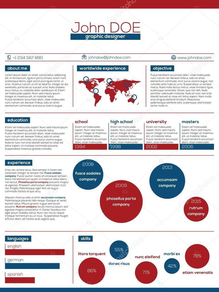 diseño de curriculum vitae moderno azul rojo y blanco vector