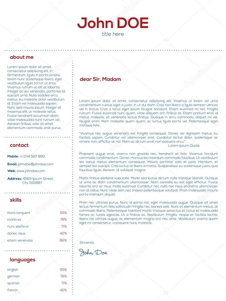 Einfach Anschreiben Design für Lebensläufe — Stockvektor © vipervxw ...