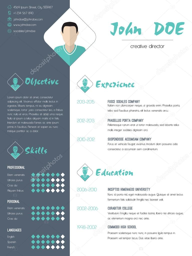 Modern Curriculum Vitae Resume With Photo Stock Vector C Vipervxw