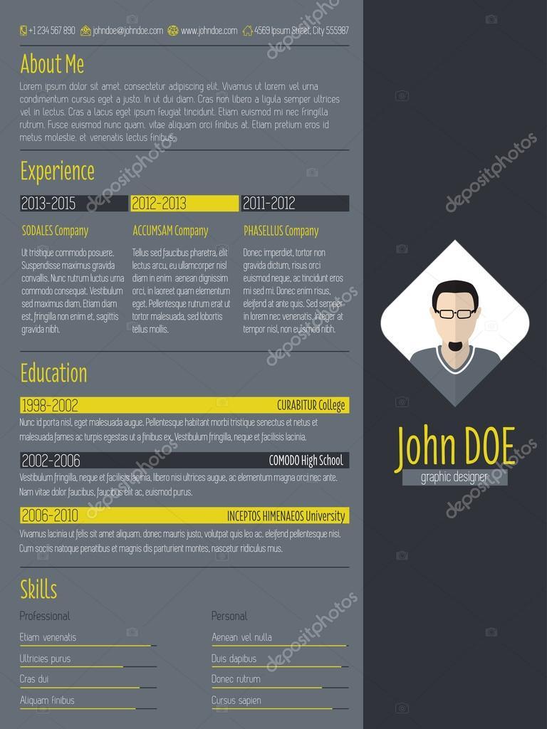 curriculum vitae moderne curriculum vitae avec fond sombre  u2014 image vectorielle vipervxw  u00a9  73376813