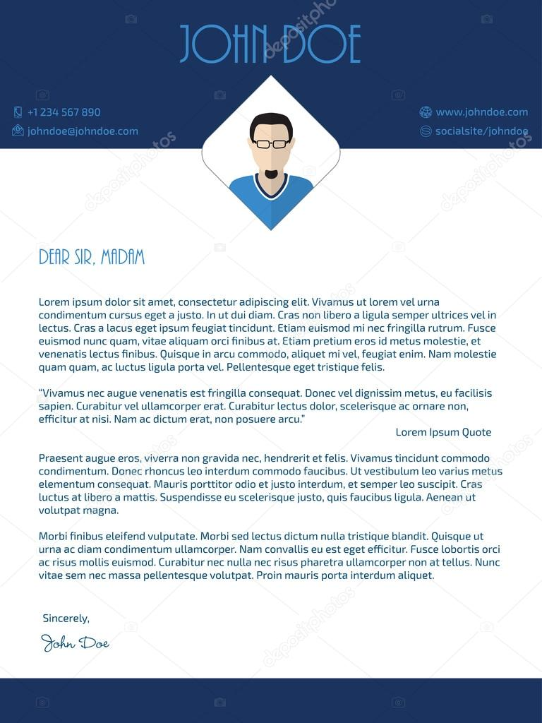 Modern Cover Letter Design With Blue White Colors Vektor Von