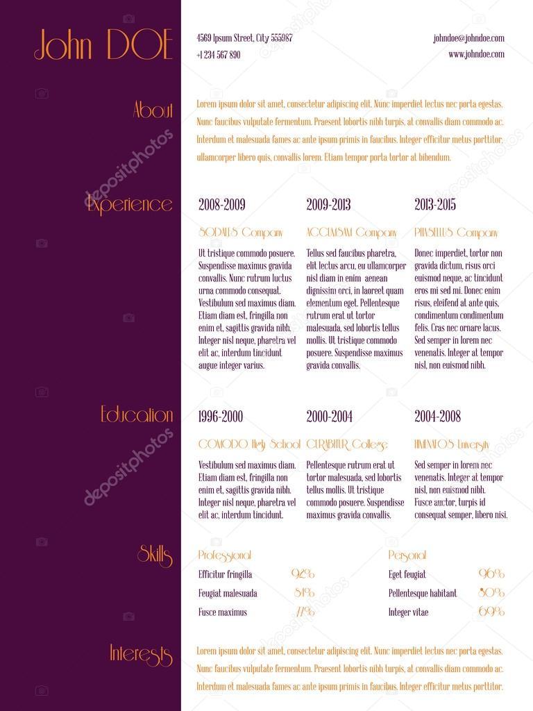 Vereinfachende Lebenslauf Lebenslauf Vorlage mit lila Streifen ...