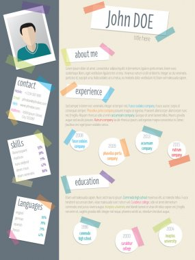 Cool resume cv with post its and color tapes