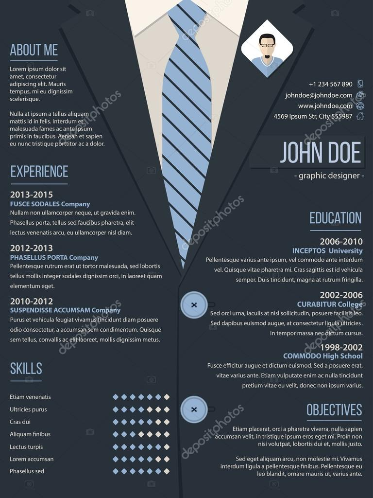 High Quality Cool Resume Cv Curriculum Vitae Template Design With Business Suit  Background U2014 Vector By Vipervxw Inside Resume Background Image
