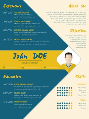 Modern curriculum vitae cv resume template in blue and orange