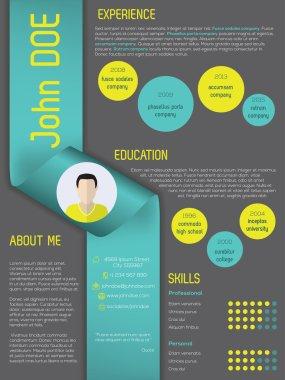Modern curriculum vitae resume template with ribbon