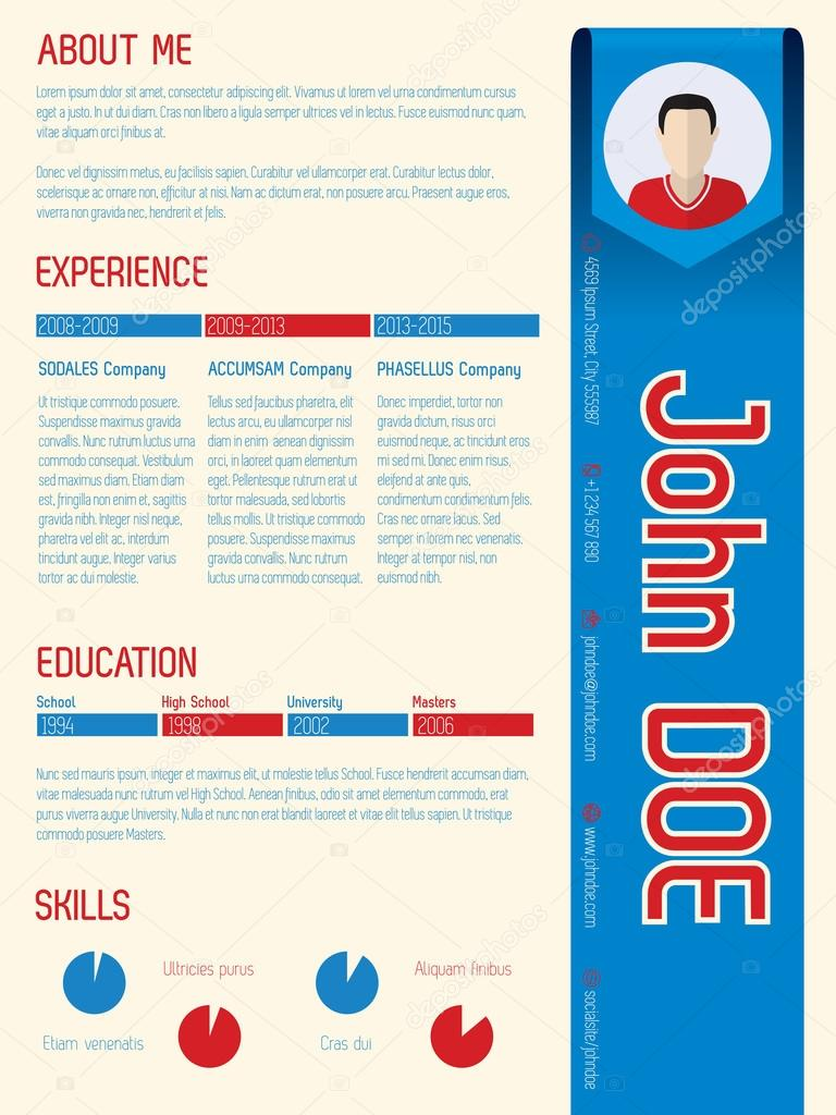 Cool modern curriculum vitae with arrow ribbon — Archivo Imágenes ...