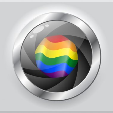 LGBT flag in shiny camera focus