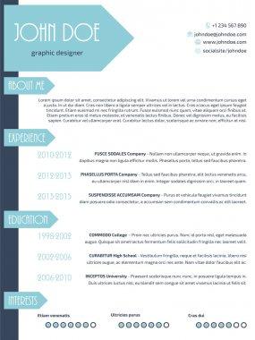 Simplistic modern resume curriculum vitae cv template design wit
