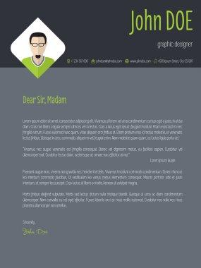 Cool dark resume cover letter cv template