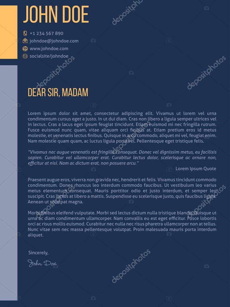 Simplistic Cover Letter Cv Resume Template Design In Dark Blue