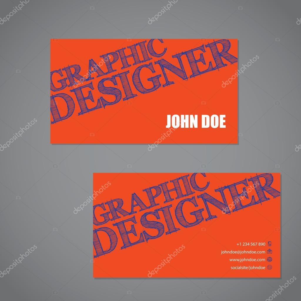 Scribbled text business card in orange blue and white color comb scribbled text business card in orange blue and white color comb stock vector colourmoves