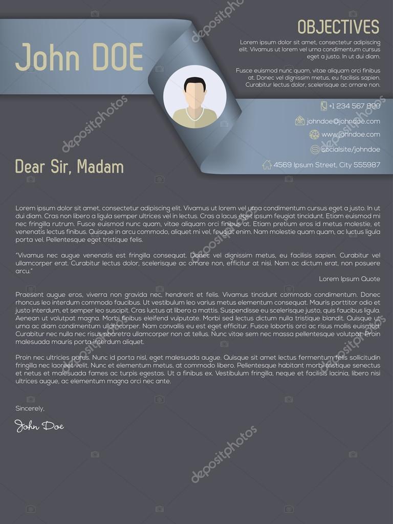 Modern Cover Letter Cv Resume With Ribbon Header Stock Vector