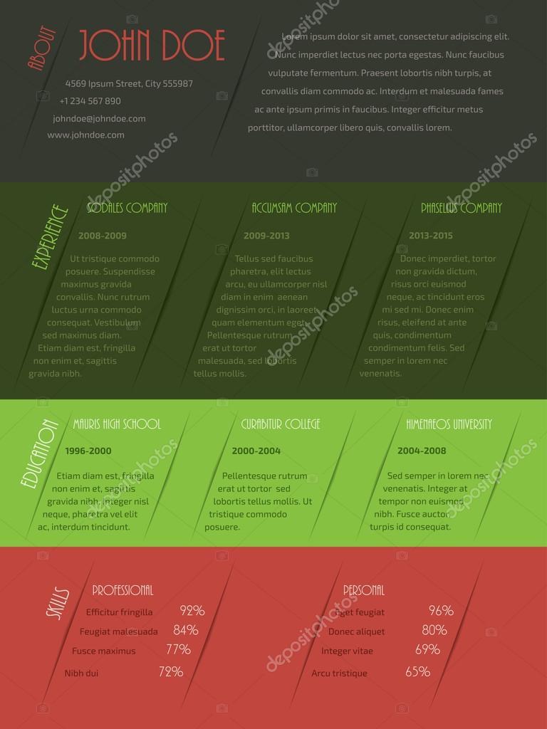 Diseño de plantilla de curriculum vitae cv Cool — Archivo Imágenes ...