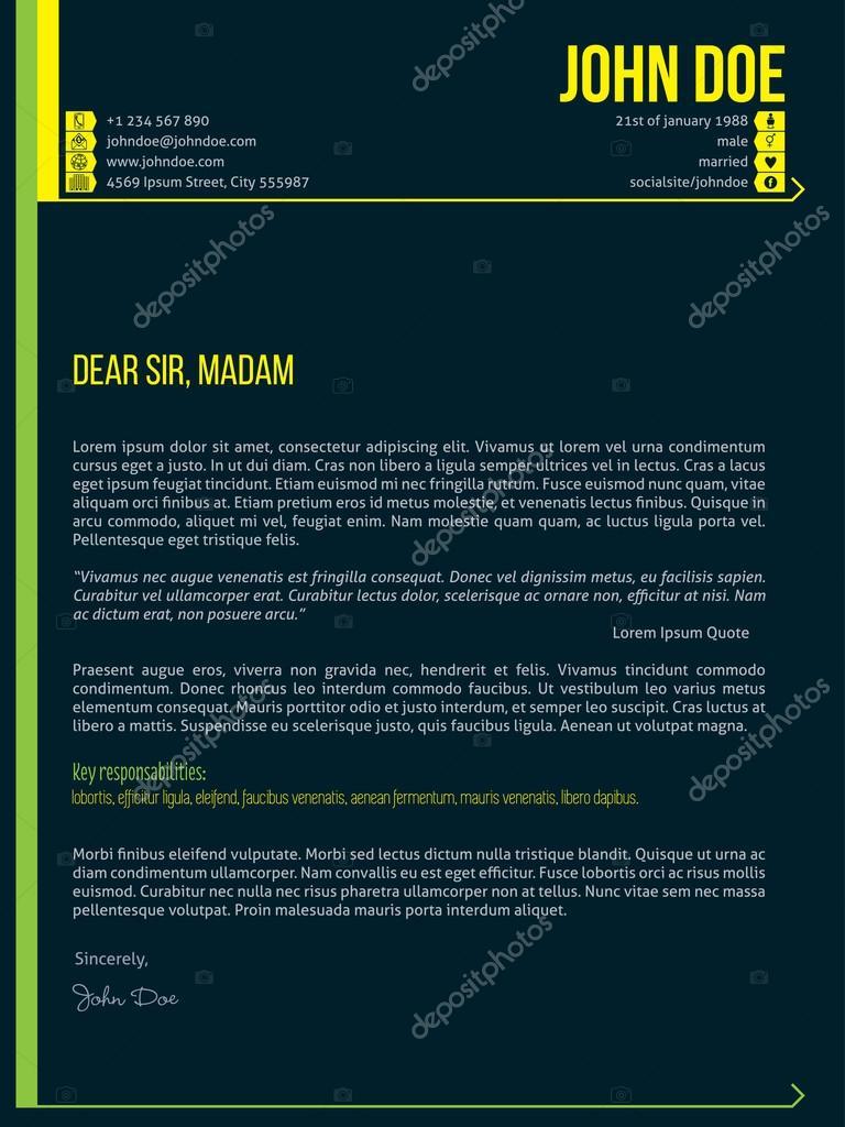 Plantilla de curriculum vitae moderno carta cv con flechas — Archivo ...