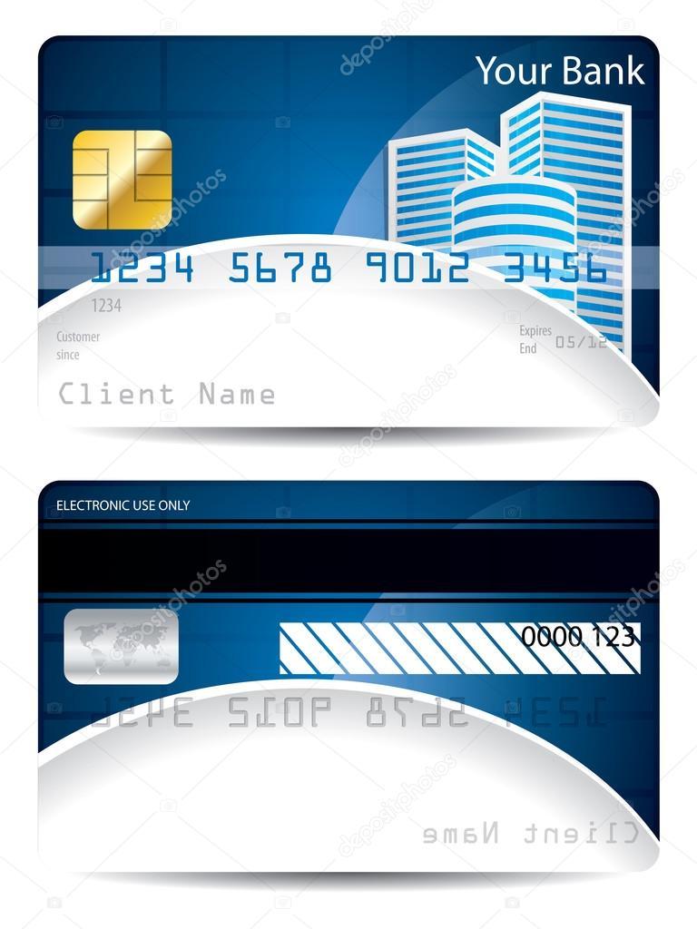 Kreditkarte-Vorlage in blau weiß mit Hochhaeuser — Stockvektor ...