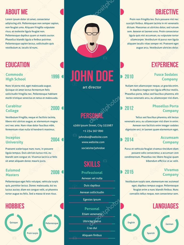Modern Resume Cv Template For Employment Stock Vector C Vipervxw