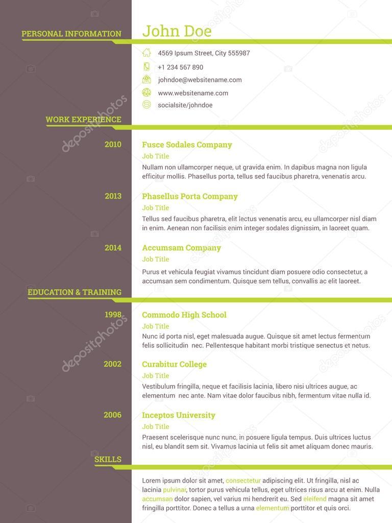 Plantilla de cv curriculum vitae moderno para personas que buscan ...