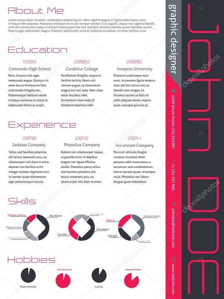 moderne curriculum vitae cv cv en gris rose  u2014 image