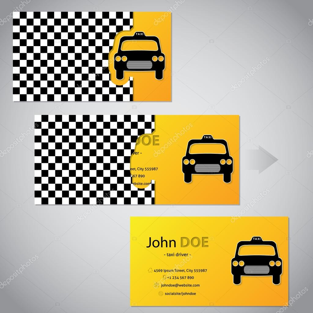 Two piece taxi business card with cab — Stock Vector © vipervxw ...