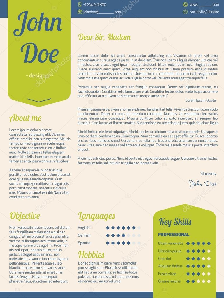 Carta moderna reanudar cv con cintas verdes — Vector de stock ...