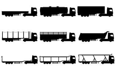 set icons trucks semi trailer black silhouette vector illustrati