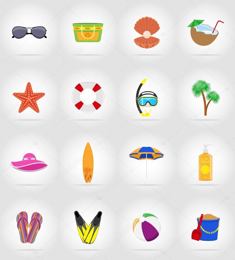 objetos para recreação a praia plana ilustração em vetor ícones