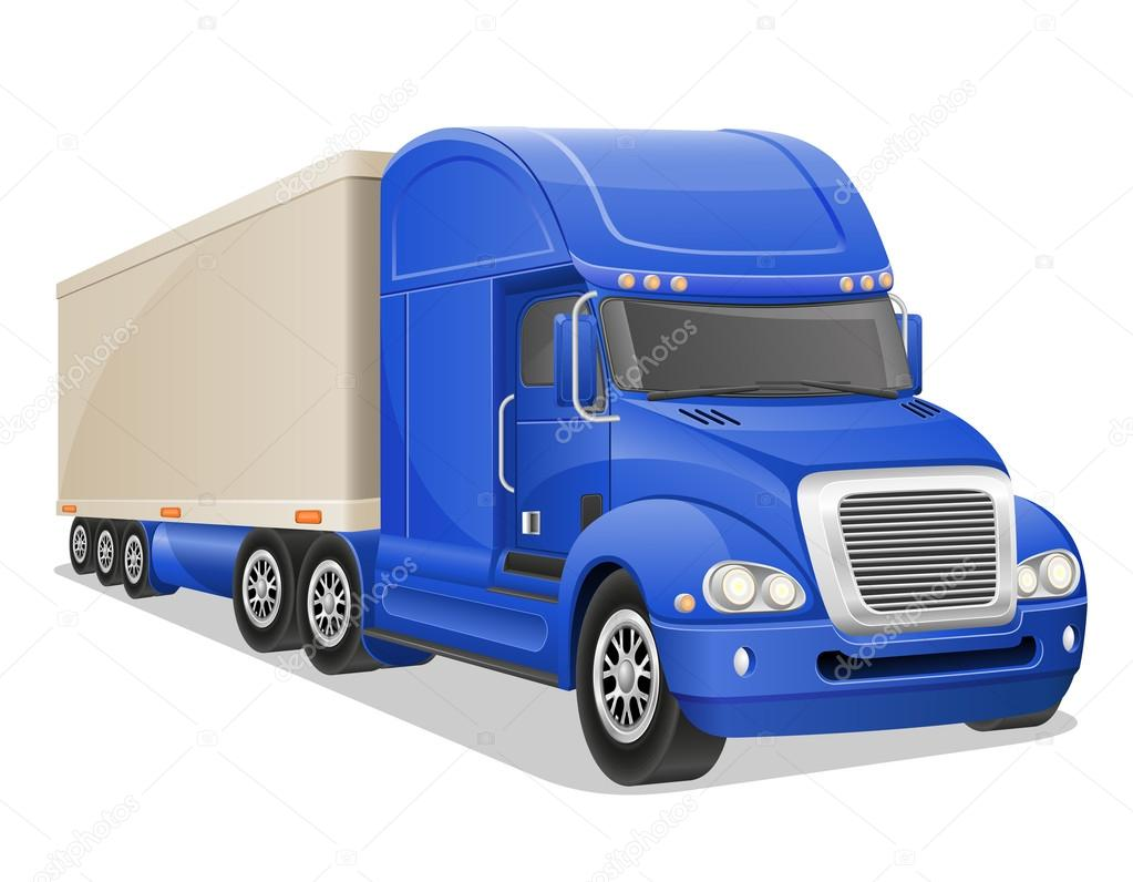 big blue truck vector illustration