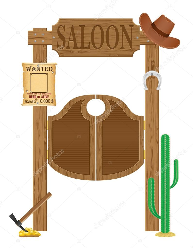 Doors in western saloon wild west vector illustration - Dessin saloon ...