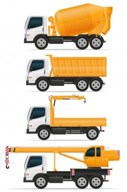 set icons trucks designed for construction vector illustration