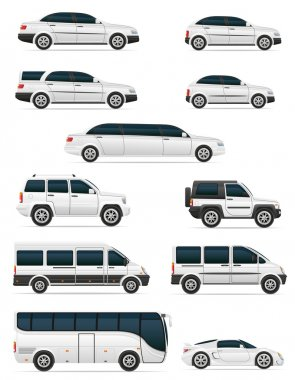 set of cars for the transportation passengers vector illustratio