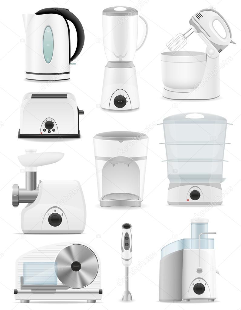 Set Von Symbole Elektrogerate Fur Die Kuche Vektor Illustrat