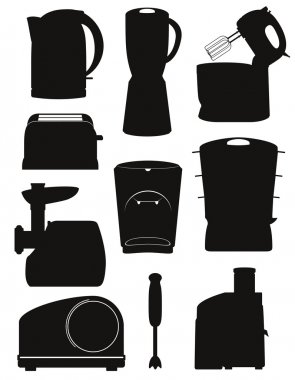 set icons electrical appliances for the kitchen black silhouette