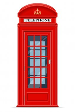 london red phone booth vector illustration
