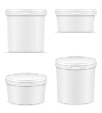 white plastic container for ice cream or dessert vector illustra